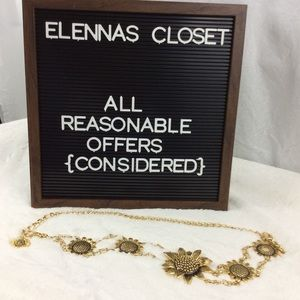Accessories - Belt with Bold Sunflowers Gold Chain